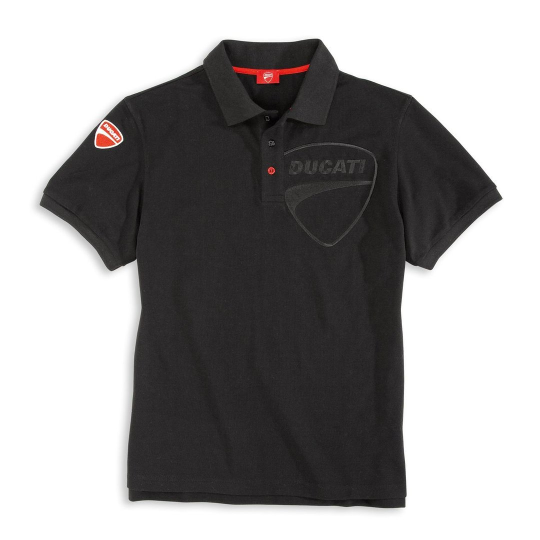 ducati company 14 polo t shirt black for men with buttons textile. Black Bedroom Furniture Sets. Home Design Ideas