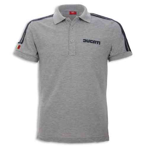 Ducati 14 polo shirt grey with dark blue strips