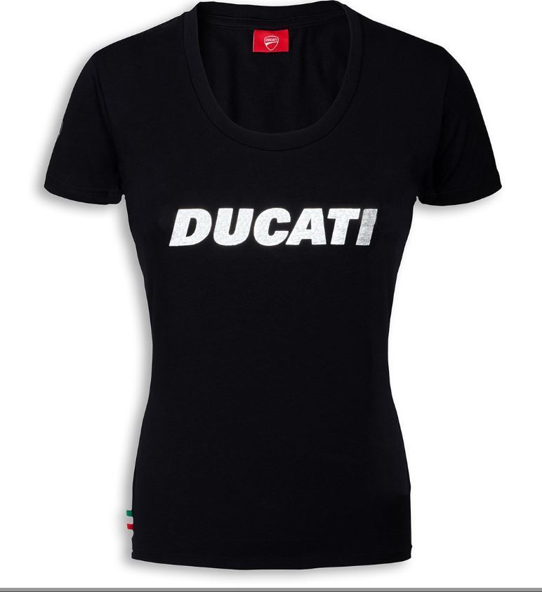 ducati ducatiana damen t shirt kurzarm rundhals schwarz mit logo. Black Bedroom Furniture Sets. Home Design Ideas
