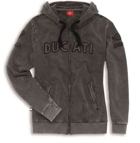 Ducati Historical Lady Sweatshirt jacket with hood gray