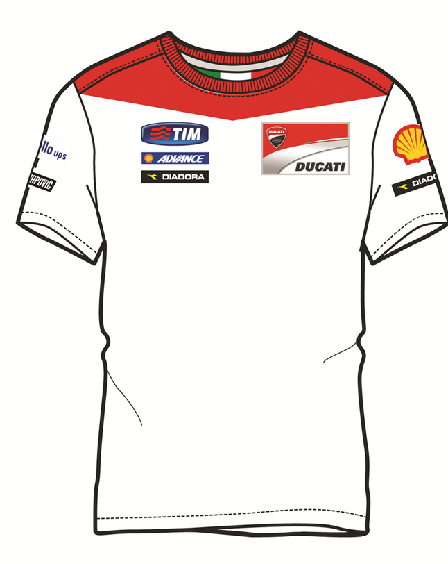 ducati diadora team replica gp 15 t shirt weiss rot ebay. Black Bedroom Furniture Sets. Home Design Ideas