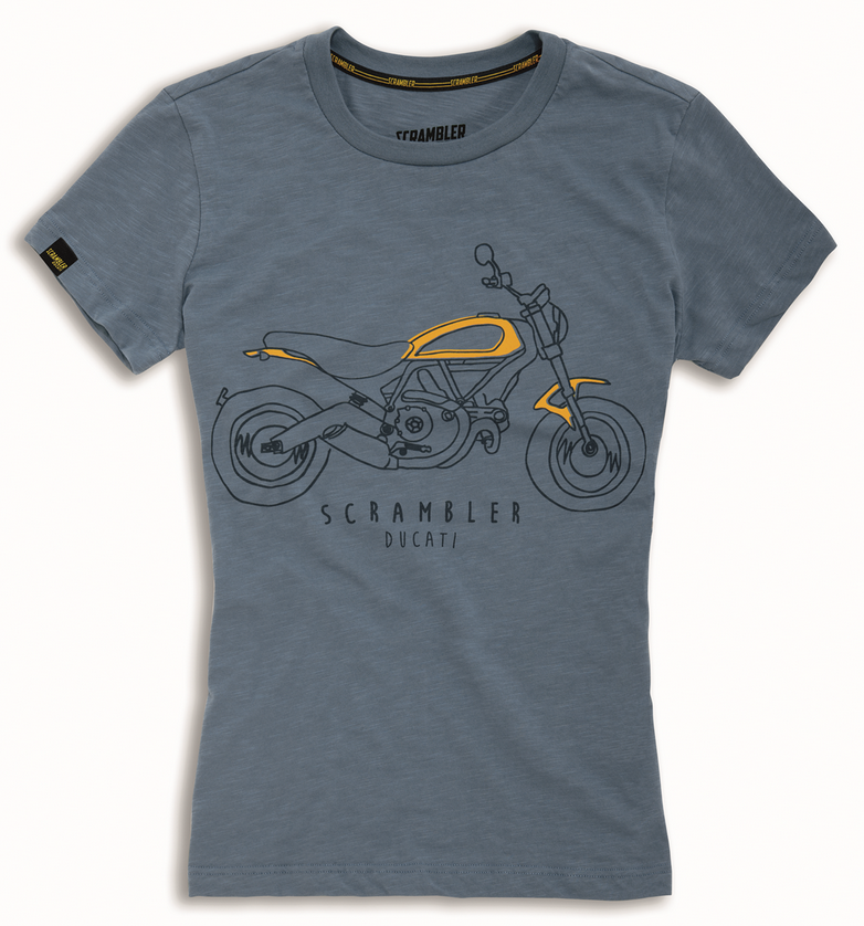 ducati scrambler heritage woman t shirt blue new. Black Bedroom Furniture Sets. Home Design Ideas