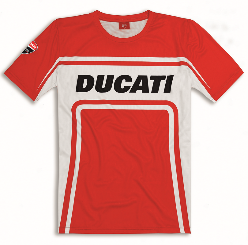 ducati corse performance track t shirt red white new 2016. Black Bedroom Furniture Sets. Home Design Ideas