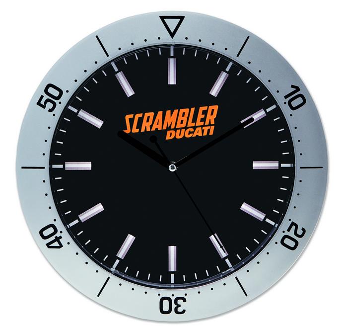 ducati scrambler compass wanduhr uhr silber schwarz ebay. Black Bedroom Furniture Sets. Home Design Ideas
