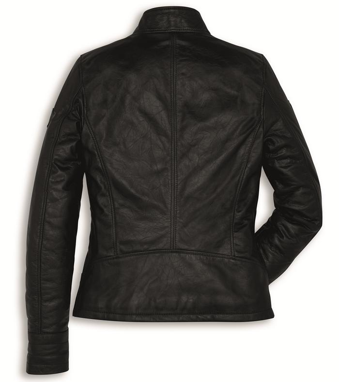 ducati vintage damen motorrad leder jacke in schwarz neu. Black Bedroom Furniture Sets. Home Design Ideas