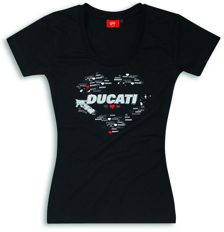 ducati heart baumwoll t shirt f r damen in schwarz neuheit. Black Bedroom Furniture Sets. Home Design Ideas